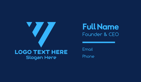 application - Blue Digital Letter V Business card horizontal design