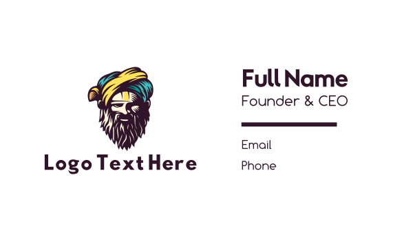 arab - Bearded Sultan Business card horizontal design