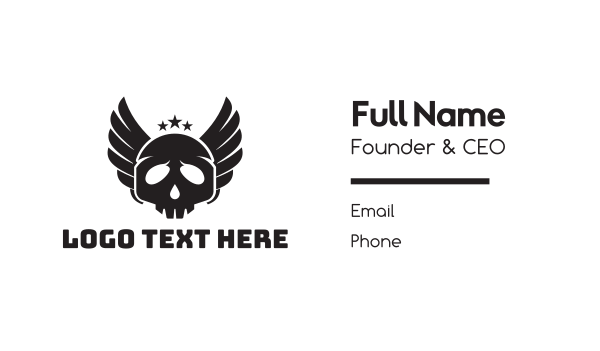 black wings - Black Skull Wings Business card horizontal design