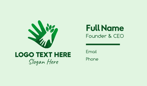 hands - Green Natural Hands  Business card horizontal design