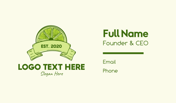 citric - Rustic Green Lime Slice Business card horizontal design