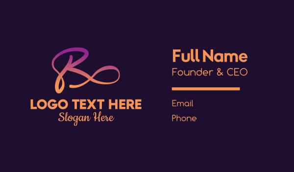 rest - Cursive Gradient Letter R Business card horizontal design