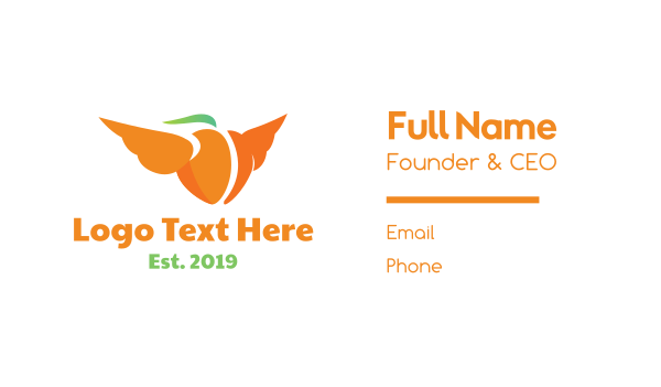 peach - Flying Orange Peach Business card horizontal design