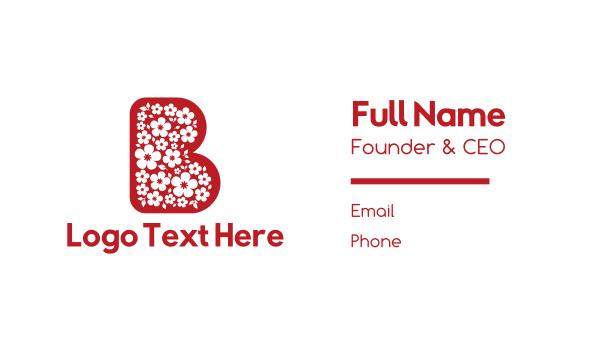 big - Floral Letter B Flowers Business card horizontal design