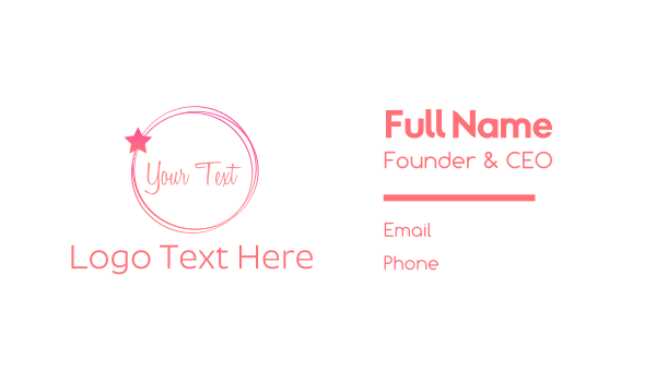 pink circle - Beauty Circle Business card horizontal design