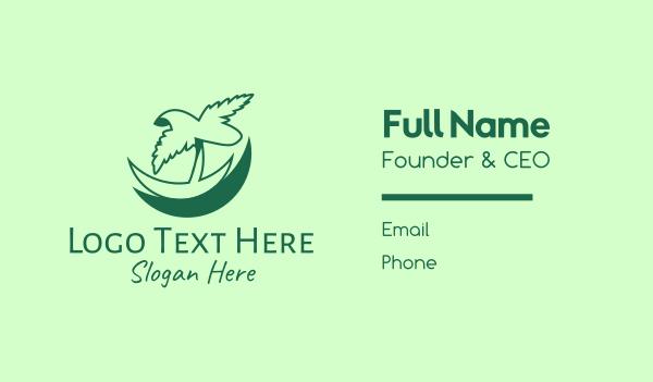 coconut tree - Green Tropical Palm Business card horizontal design