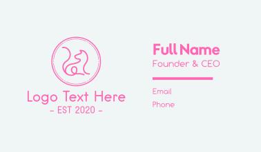Minimalist Pink Cat  Business Card