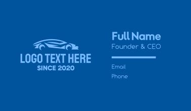 Blue Sports Car Business Card
