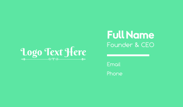 Elegant Script Wordmark Business Card