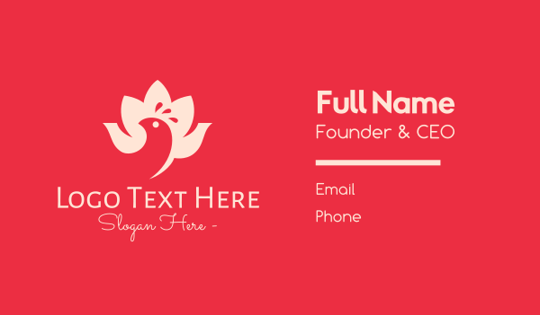 creations - Lotus Flower Bird Business card horizontal design