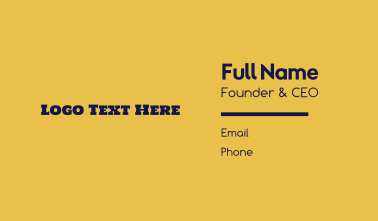 Texas Restaurant Cowboy Text Wordmark Business Card