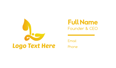 Yellow L Leaf Business Card