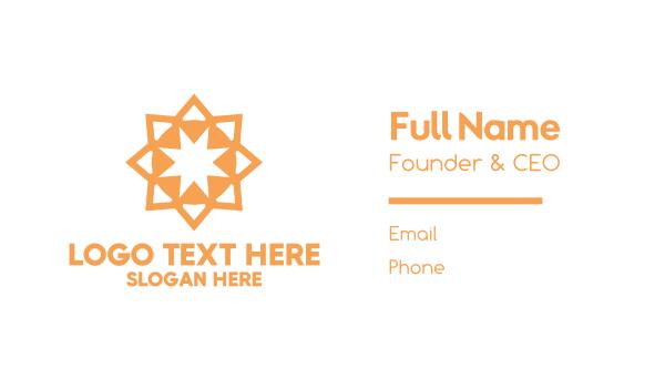 radial - Luxury Orange Star Business card horizontal design