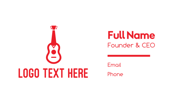 music lessons - Red Tie Guitar Business card horizontal design