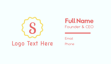 Letter S Stamp Business Card