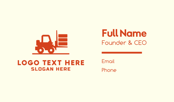 cargo delivery - Forklift Truck Business card horizontal design