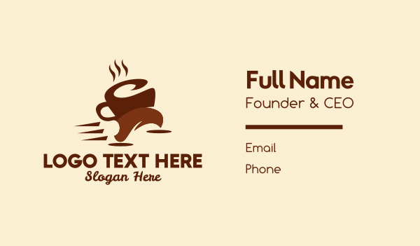 delivery man - Coffee Cup Run Business card horizontal design