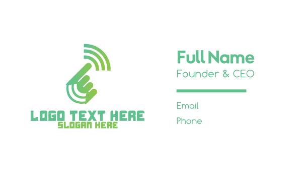 ecommerce - Green Hand Signal Business card horizontal design