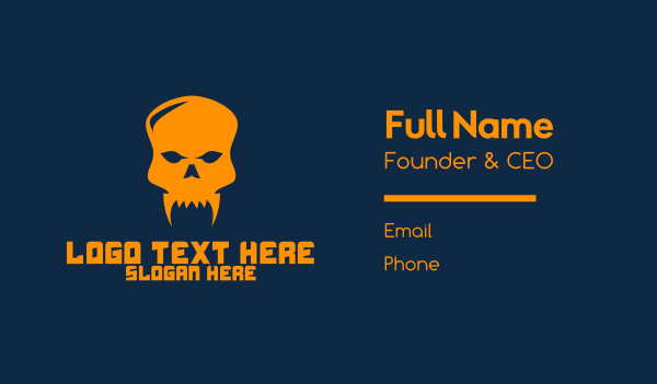 fang - Black Fang Skull Business card horizontal design