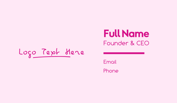 lesson - Pink Childish Wordmark Business card horizontal design