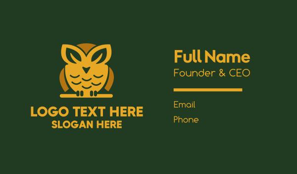 ecofriendly - Leaf Owl Business card horizontal design