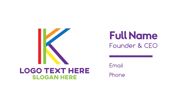 queer - Colorful Minimalist K Business card horizontal design