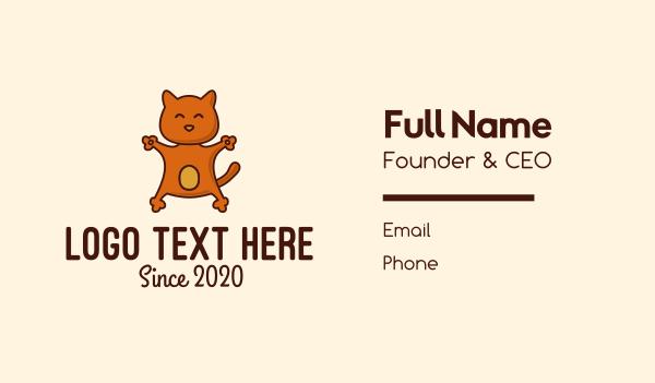 adorable - Happy Orange Cat  Business card horizontal design