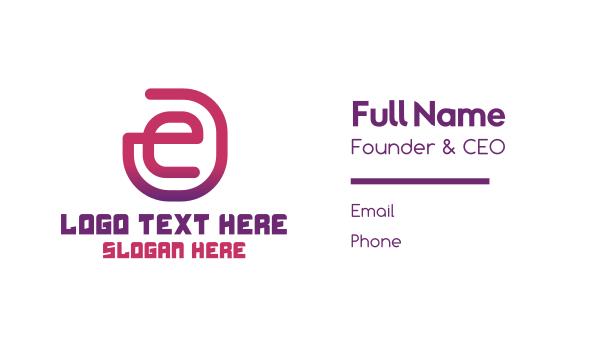 global solutions - Letter E Outline Business card horizontal design