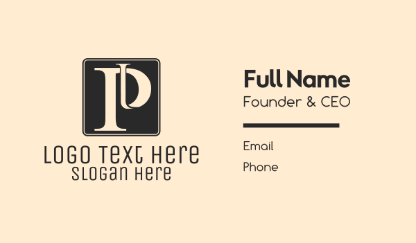 classy - Serif Letter P Business card horizontal design