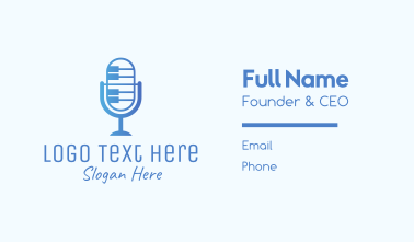 Blue Gradient Piano Podcast Business Card