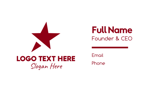 Red Simple Star Business Card