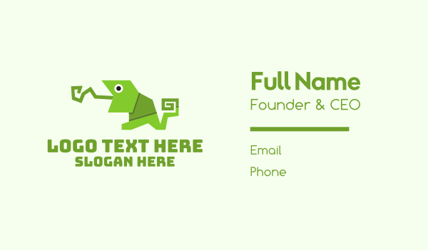 fold - Green Origami Chameleon Business card horizontal design
