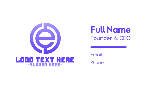 crypto - Purple Tech Letter E Business card horizontal design