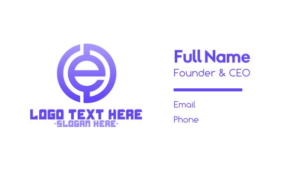 euro - Purple Tech Letter E Business card horizontal design