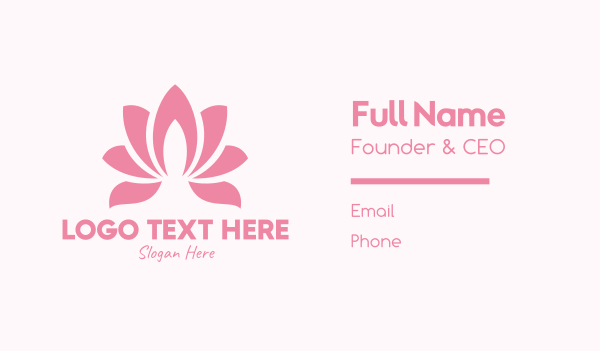 flower bud - Pink Lotus Flower Business card horizontal design