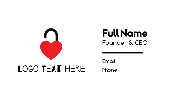 passion - Unlocked Red Heart Business card horizontal design