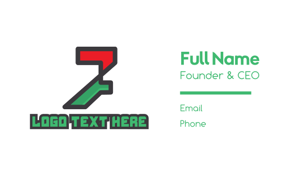 seven - High Tech Number 7 Business card horizontal design