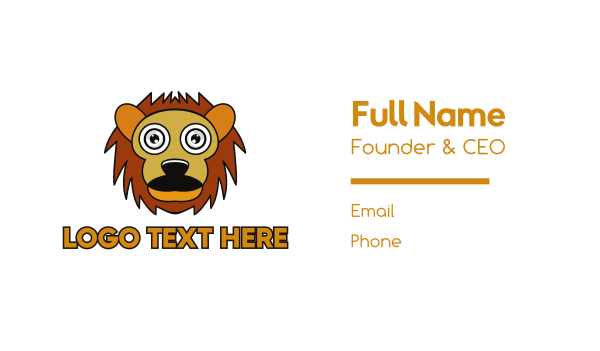 day care - Cartoon Lion Outline Business card horizontal design