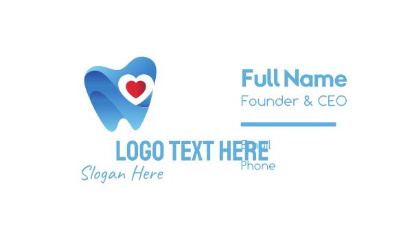 dental clinic - Tooth Heart Business card horizontal design