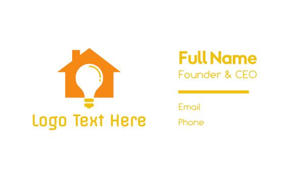 illumination - Orange House Bulb Business card horizontal design