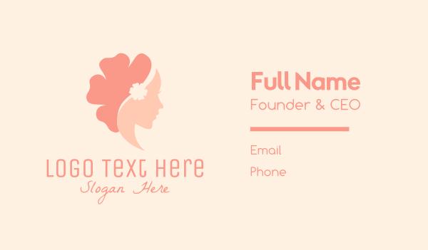 waxing - Flower Woman Profile Business card horizontal design