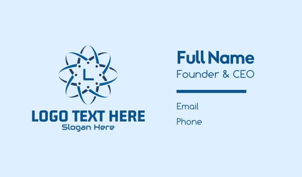 app development - Digital Blue Tech Lettermark Business card horizontal design