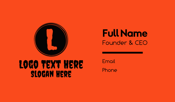 spooky - Haunted Night Lettermark Business card horizontal design
