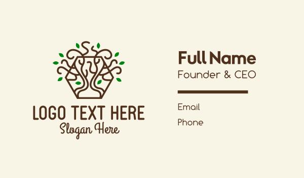 growing - Growing Tree Hexagon  Business card horizontal design