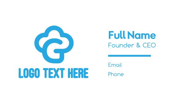 cupcake shop - Blue Cloud G Business card horizontal design