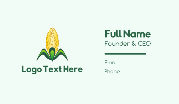 green and yellow - Yellow Corn Business card horizontal design