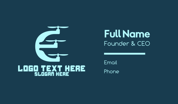 plane - Drone Letter E Business card horizontal design
