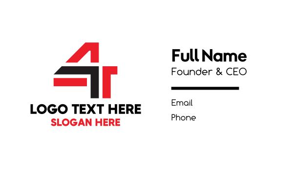 four - Monogram Number 4 Business card horizontal design