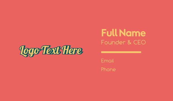 70s - Cursive Vintage Wordmark Business card horizontal design
