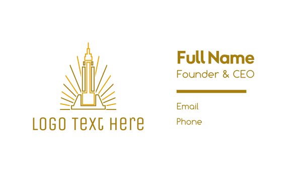 nyc - Tower Outline Business card horizontal design